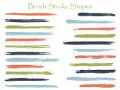 Modern Ink Brush Stroke Stripes Vector Set, Green Blue Horizontal Marker Or Paintbrush Lines Patch.  poster