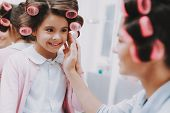 Little Lady With Curlers. Happy Child In Beauty Salon. Consept Beauty Salon. Beautiful Little Lady.  poster
