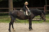 Friend, Companion, Friendship. Girl Ride On Horse On Summer Day. Equine Therapy, Recreation Concept. poster