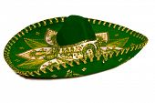 Green mexican sombrero isolated on whit