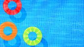 Swim Rings On Swimming Pool Water Background. Inflatable Rubber Toy. Realistic Summertime Illustrati poster