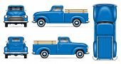 Classic Pickup Truck Vector Mockup On White Background. Isolated Blue Vintage Lorry View From Side,  poster