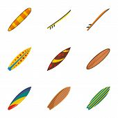 Classic Surf Board Icon Set. Flat Set Of 9 Classic Surf Board Vector Icons For Web Design poster