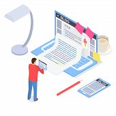 Creative Blog Post Concept 3d Isometric View. Vector poster