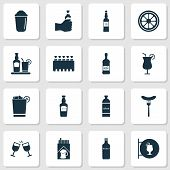 Beverages Icons Set With Lemon, Sausage, Cocktail And Other Whisky Elements. Isolated  Illustration  poster