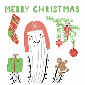 Hand Drawn Vector Illustration Of A Cute Funny Cactus In A Warm Hat, With Stocking, Gingerbread, Tex poster