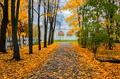 Veliky Novgorod, Russia - Autumm City Park Scene. Yaroslav Courtyard Arcade In Autumn Cloudy Day In  poster