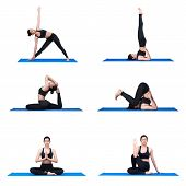 Young Asian Woman Practice Yoga Pose Exercise At The Yoga Sport Gym. Yoga Is A Healthy Form Of Exerc poster