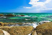 Sea Coastline With A Stone poster
