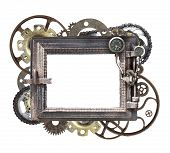 Metallic round frame with vintage machine gears and cogwheel. Isolated on white background. Mock up  poster
