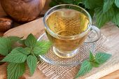 A Cup Of Herbal Tea With Fresh Stinging Nettles poster