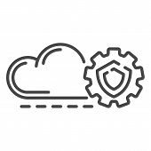 Cloud Gear Secured Icon. Outline Cloud Gear Secured Vector Icon For Web Design Isolated On White Bac poster
