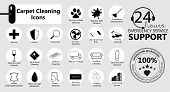 Carpet Cleaning, Service Icons Set, Emblems For A Business. Carpet Cleaning. Vector Icons Set poster