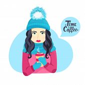 Beautiful Young Girl In A Winter Hat With A Fluffy Pompon And In A Scarf Holding A Cup Of Hot Coffee poster
