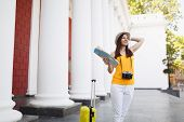 Young Smiling Traveler Tourist Woman In Yellow Clothes With Suitcase City Map Retro Vintage Photo Ca poster