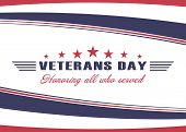 Veterans Day Background. Template For Us Veterans Day Design. Honoring All Who Served. Vector Illust poster