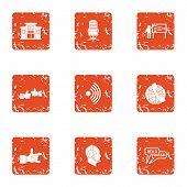 Scientific Adviser Icons Set. Grunge Set Of 9 Scientific Adviser Vector Icons For Web Isolated On Wh poster