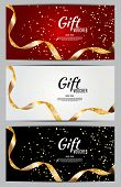 Luxury Members, Gift Card Template For A Festive Gift Card, Coupon And Certificate With Ribbons And  poster