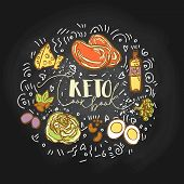 Take The Keto Challenge Food Sketch Illustration - Multy-colored Vector Sketch Healthy Concept. Heal poster