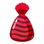 Chocolate Candy In Red Wrap Con. Cartoon Illustration Of Chocolate Candy In Red Wrap Icon For Web poster