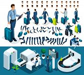 Isometric Set 1 Create Your Character, Businessman At The Airport. Set Of Gestures Of Hands, Feet, E poster