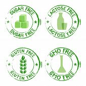 Set Of Stamps For Products With No Sugar, Gluten, Gmo Lactose - Vector Illustration poster