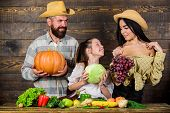 Family Rustic Style Farmers Market With Fall Harvest. Parents And Daughter Celebrate Harvest Holiday poster