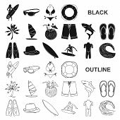 Surfing And Extreme Black Icons In Set Collection For Design. Surfer And Accessories Vector Symbol S poster
