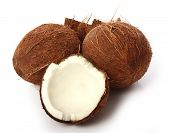Close up of Fresh coconuts on white background