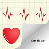 Illustration Of Cardiogram, Heart Pulse With Space For Text. Medical Yellow Vector Banner. Eps. poster