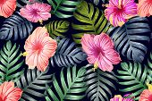 Green Red Exotic Pattern. Monstera And Hibiscus Flowers Tropical Bouquet.  Hawaiian T-shirt And Swim poster