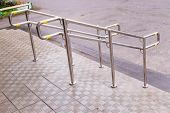 Stainless Steel Handrails Are Installed On The Walls And Steps.steel Handrail.assistance For People  poster