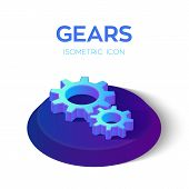 Gears Isometric Icon. 3d Isometric Gears Sign. Created For Mobile, Web, Decor, Print Products, Appli poster