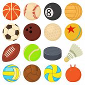 Sport Balls Icons Set Play Types. Cartoon Illustration Of 16 Sport Balls Play Types Icons For Web poster