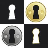 image of peep hole  - Keyhole selection in metal and brass colors - JPG