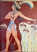 image of minos  - Ancient fresco from Knossos palace at Crete island in Greece - JPG