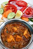 picture of kadai  - Kadai paneer cheese curry in a cardamon gravy with naan bread and salad - JPG