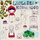 Little Red Riding Hood Fairytale - Hand drawn characters and pictorial elements of a famous fairytal