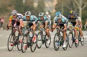 BARCELONA - MARCH, 24: Pack of the cyclists of Omega Pharma Quickstep ride during the Tour of Catalo
