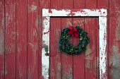 Christmas Wreath on Barn