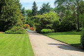 stock photo of manicured lawn  - Looking down a meticulously manicured roadway in a Seattle park on a sunny day - JPG