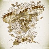pic of day dead skull  - Skull in sombrero with flowers Day of The Dead - JPG