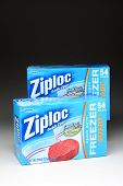 IRVINE, CA - January 21, 2013: 2 boxes of 54 count Ziploc Heavy Duty Freezer Bags. Produced by S. C.
