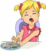 Illustration of a Grossed Out Little Girl Pushing Away a Plate of Food