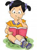 Illustration of an Asian Girl Thinking About Something While Reading a Book