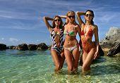 picture of monokini  - Swimsuit models posing standing in shallow water of tropical ocean - JPG