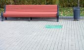 foto of banquette  - image of one bench in park at day - JPG