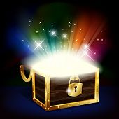 picture of treasure chest  - Illustration of chest with glowing treasure  - JPG