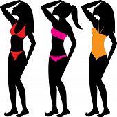 stock photo of monokini  - Three types of bathing suits - JPG
