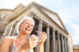 image of gelato  - Girl eating ice cream by Pantheon - JPG